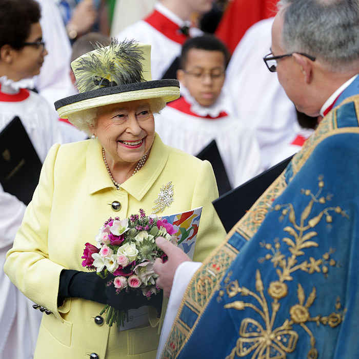 The Queen chatted with John Hall, the Dean of Westminster, as she left the Commonwealth Day Service at Westminster Abbey in central London on March 13, 2017. 