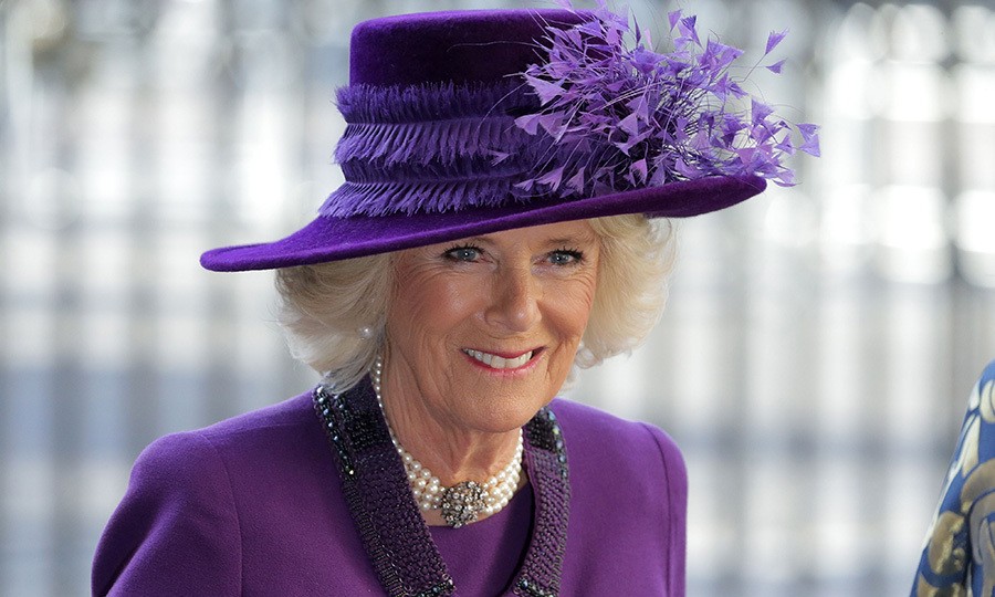 Camilla, Duchess of Cornwall wore all purple and her trademark pearl choker for the Commonwealth Day Service at Westminster Abbey in central London.