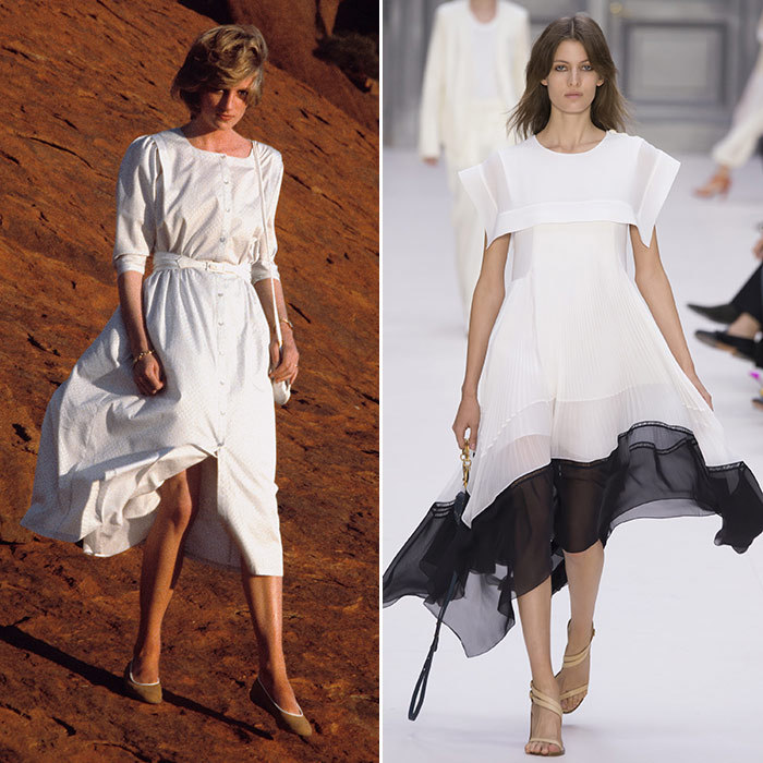 <h3>Lady in White</h3><p><strong>Then:</strong> In this button-down white cotton frock by Benny Ong, Diana kept her cool on a visit to Ayers Rock during a royal tour of Australia in 1983.</p><p><strong>Now:</strong> Bold and sassy, Chloé raises the hemline and ups the ante with this shirt dress.</p><p>Photo: &copy; Getty Images</p>