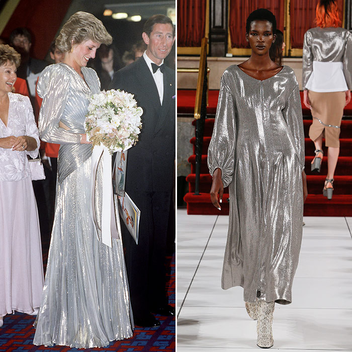 <h3>High Shine</h3><p><strong>Then:</strong> In a sparkling backless silver lamé gown by Bruce Oldfield, Diana brought a touch of Dynasty-style glamour to the world première of the film Burke &amp; Wills in Melbourne during her visit to the city in 1985.</p><p><strong>Now:</strong> Fast-forward 32 years and French design house Isabel Marant lights up the runway with this shimmering space-age showstopper.</p><p>Photo: &copy; Getty Images</p>