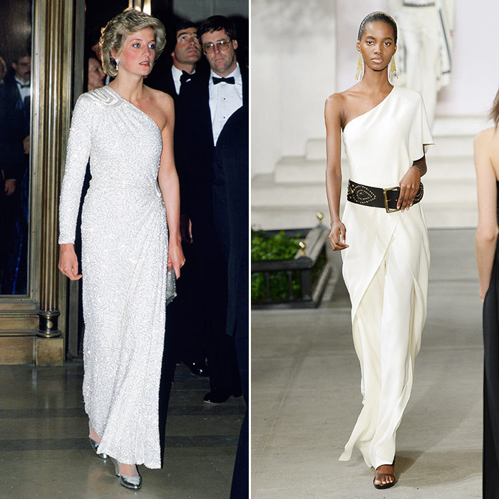 <h3>Off the Cuff</h3><p><strong>Then:</strong> The doyenne of power dressing, Diana blazed a trail in this asymmetric white gown embroidered with translucent glass beads and crystals by Hachi, which was first seen in 1983 and was worn again in Washington, D.C., two years later.</p><p><strong>Now:</strong> A flowing gown by Ralph Lauren, dressed down with a wide belt, gives the original look a modern twist.</p><p>Photo: &copy; Getty Images</p>
