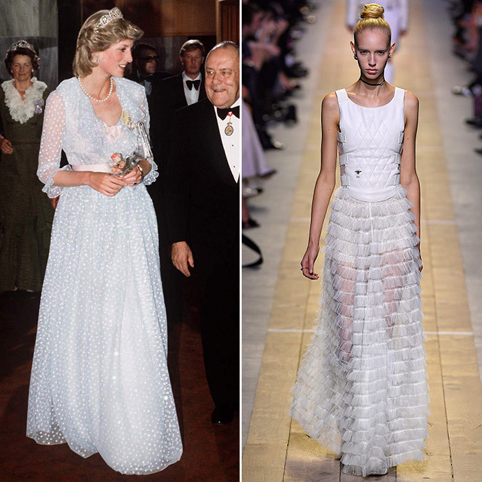 <h3>Sheer Romance</h3><p><strong>Then:</strong> Dubbed Shy Di in the early days, she favoured feminine frills – and in this romantic tulle gown by David and Elizabeth Emanuel, worn in 1983, she was the perfect People's Princess. </p><p><strong>Now:</strong> In a daring take on the traditional tulle ball gown, Dior adds a translucent skirt and a cream satin bustier.</p><p>Photo: &copy; Getty Images</p>