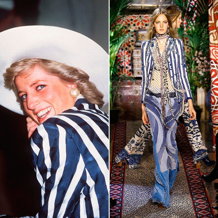 <h3>A Star in Stripes</h3><p><strong>Then:</strong> Sporting a Roland Klein blue and white silk blazer, Diana was first past the post at Royal Ascot in 1987 – she wore the jacket again the following year in Australia.</p><p><strong>Now:</strong> This Roberto Cavalli blazer, with its added floral twist, brings the look bang up to date. </p><p>Photo: &copy; Getty Images</p>