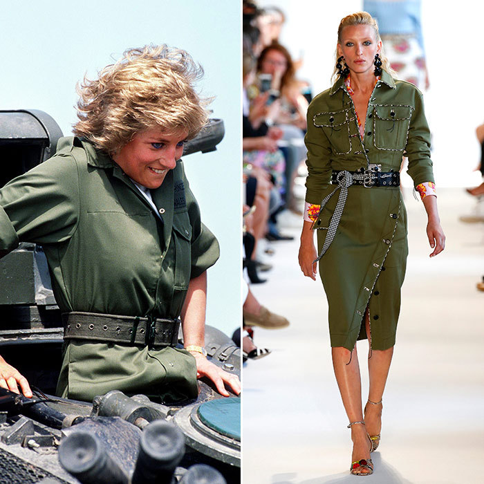 <h3>Style Mission</h3><p><strong>Then:</strong> Wearing a khaki jumpsuit as she climbed in a tank during a visit to the Royal Hampshire Regiment at Tidworth in 1988, daring Diana managed to make military gear look chic. </p><p><strong>Now:</strong> This sassy olive-green number by Altuzarra is smart and chic enough to give other looks their marching orders.</p><p>Photo: &copy; Getty Images</p>