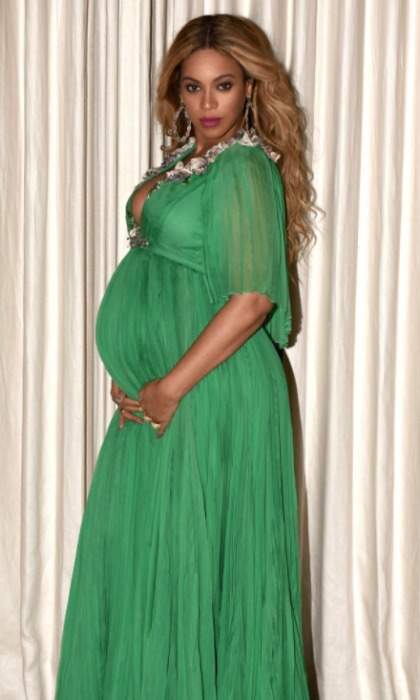 The <em>Lemonade</em> singer's emerald green dress for the <em>Beauty and the Beast</em> premiere in Hollywood was fit for a princess. Beyoncé took the plunge in the dress that she coordinated with five-year-old daughter Blue Ivy's pink and green Gucci dress.