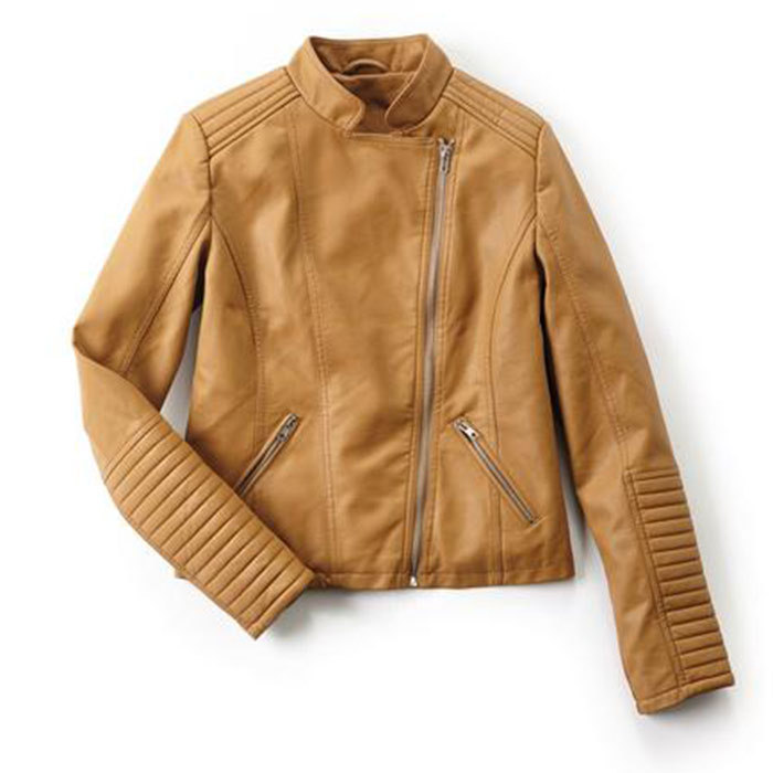 <p>Women's Faux Leather Moto Jacket in Camel, $60, <em>sears.ca</em></p>