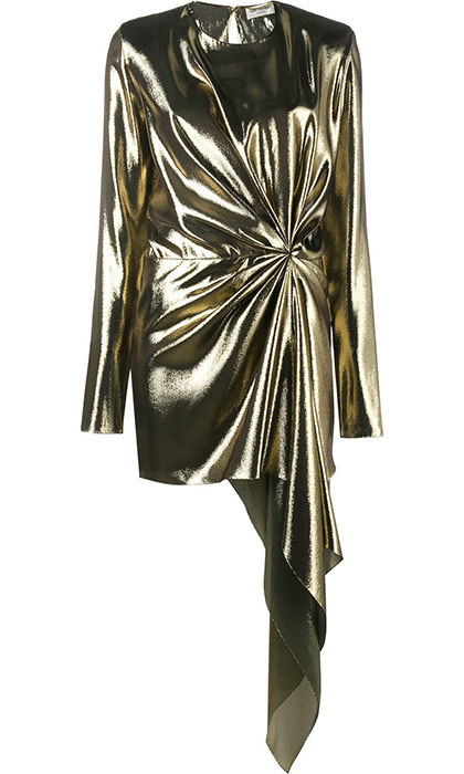 <p>Saint Laurent Asymmetric Draped Mini Dress, $3,890, <em>farfetch.com</em></p>