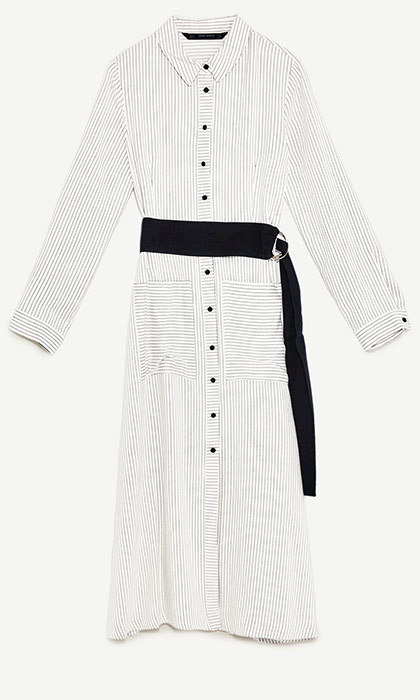 <p>Striped Tunic with Belt, $70, <em>zara.com</em></p>