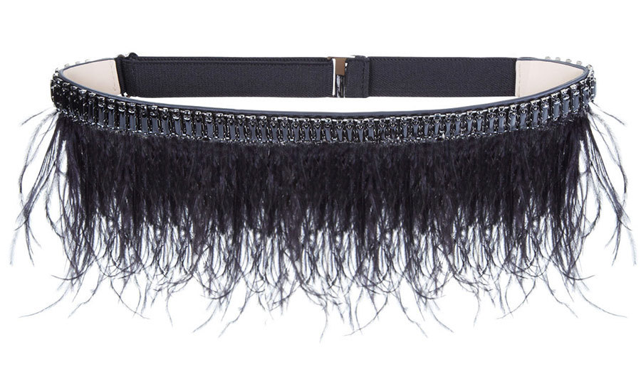 <p>BCBG Stone Column Ostrich Feather Belt, $140, <em>bcbg.com</em></p>