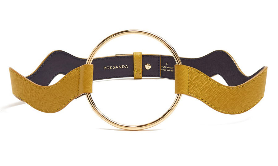 <p>Circle-Front Wave Saffiano-Leather Belt, $720, <em>matchesfashion.com</em></p>