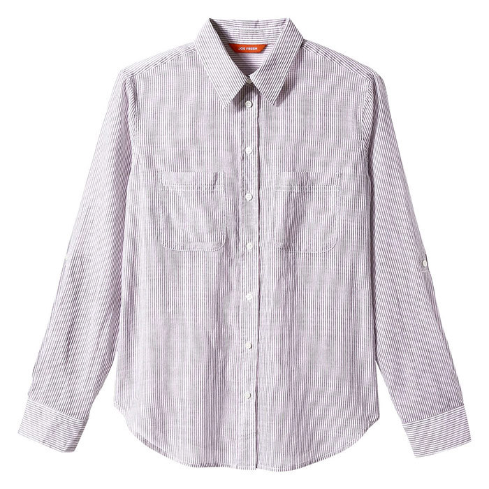 <p>Print Shirt in Plum Stripe, $29, <em>joefresh.com</em></p>