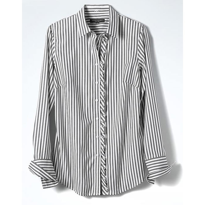 <p>Riley-Fit Asymmetrical Ruffle Placket Shirt, $85, <em>bananarepublic.gapcanada.ca</em></p>