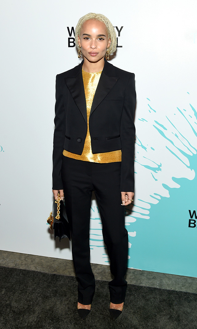 "<a href=""/tags/0/zoe-kravitz/"" target=""_blank"">Zoe Kravitz</a> brought a cool-girl vibe to this Oscar de la Renta suit at the Whitney Museum Biennial in New York. <p>Photo: © Getty Images </p>"
