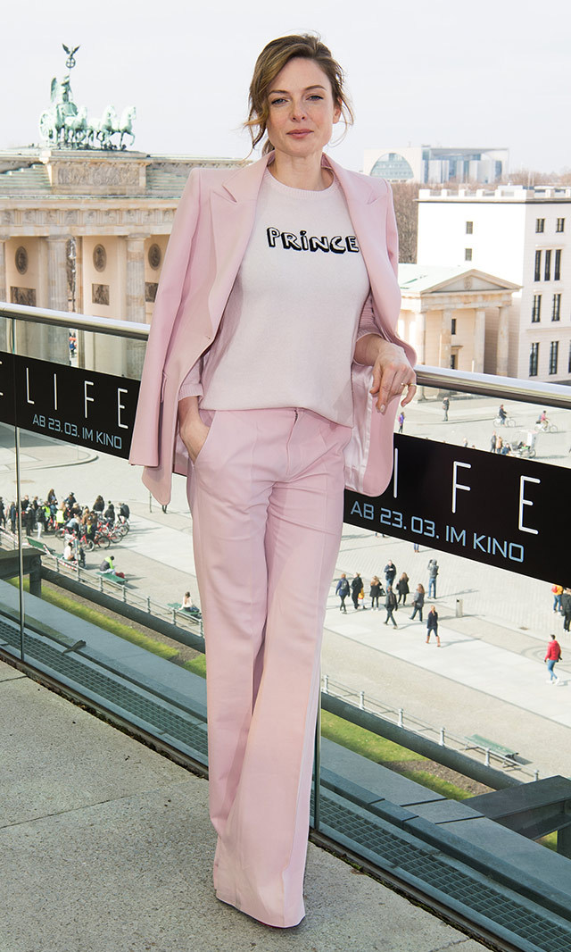 "<a href=""/tags/0/rebecca=ferguson/"" target=""_blank"">Rebecca Ferguson</a> looked feminine-chic in a pastel pink Bella Freud suit at photocall for her film <em>Life</em> in Berlin.<p>Photo: © Getty Images </p>"