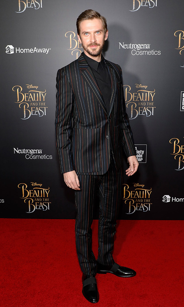 "<a href=""/tags/0/dan-stevens/"" target=""_blank"">Dan Stevens</a> is all beauty (not Beast!) in this dapper and colourful pinstripe Givenchy suit at the New York premiere of Disney's <em> Beauty and the Beast</em>. <p>Photo: © Getty Images </p>"