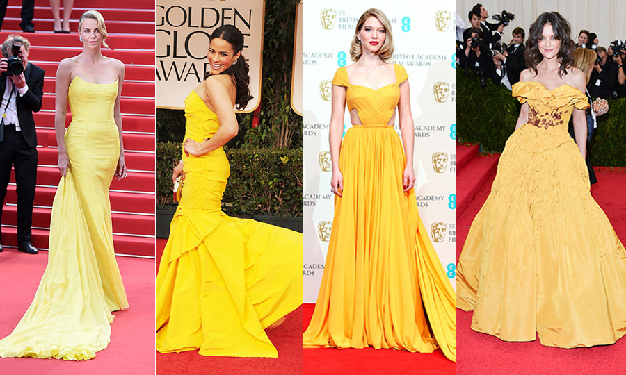 A little sunshine goes a long way! From Alicia Vikander's embellished frock at the 2016 Oscars to Katie Holmes' 'Belle' moment, here are some of the best and brightest yellow gowns and ensembles that have graced the red carpet.