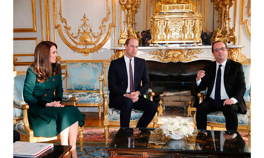 Prince William and Kate met with France's President Francois Hollande prior to their meeting at the Élysée Palace in Paris.