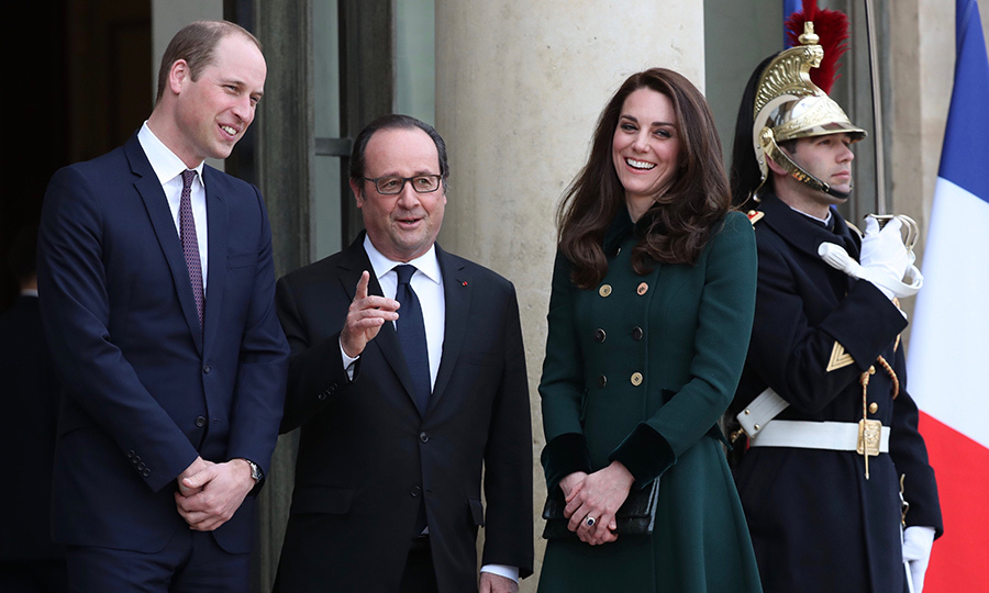 The Duke and Duchess were greeted by French President Francois Hollande.