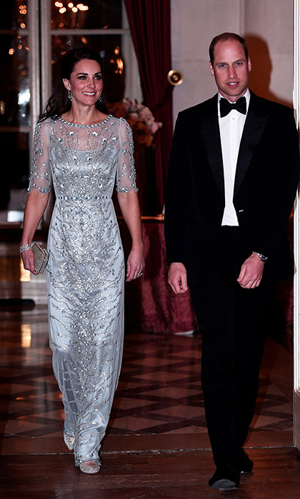 Prince William and Kate were guests of honour at a black-tie dinner at the British Embassy. The future king looked dapper in a tuxedo, while his wife dazzled in a sparkly blue Jenny Packham gown and Oscar de la Renta shoes. 