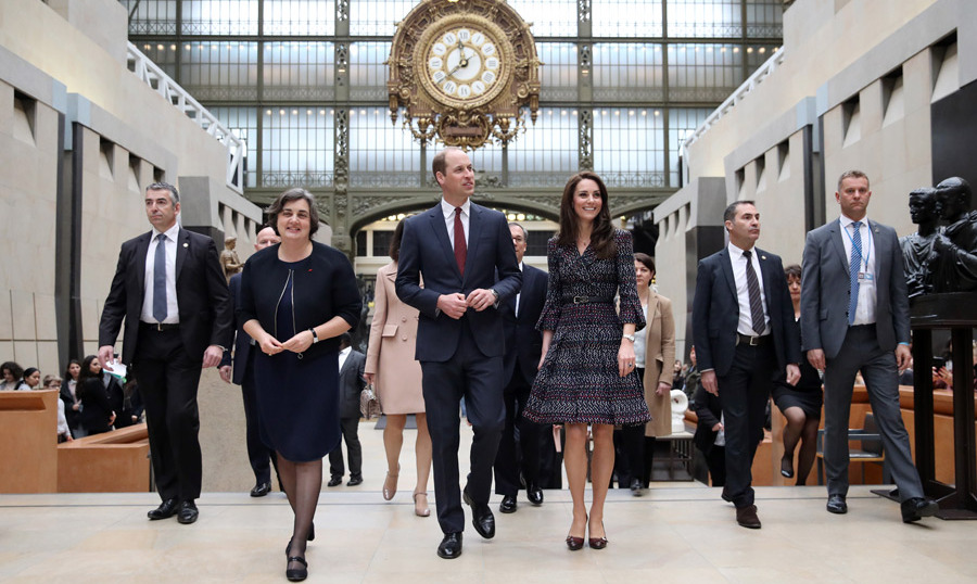 Next up, Will and Kate were guests of honour at the Musee d'Orsay, and surprised fellow tourists as they were given a guided tour of the museum.