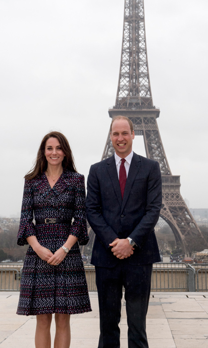 William and Kate had an obligatory tourist photo at the Eiffel Tower.