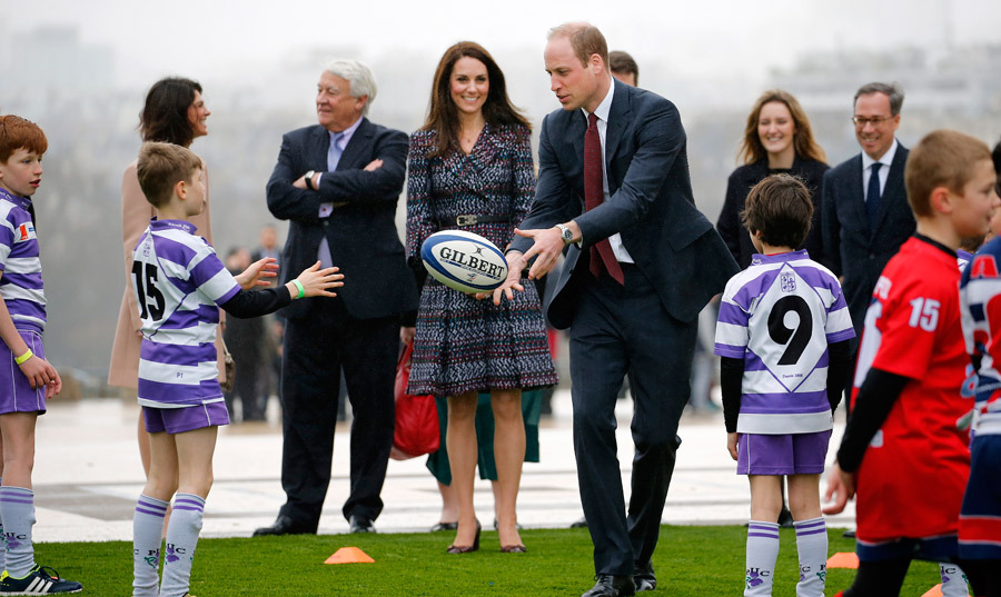 Prince William had a go at testing his own rugby skills before the Six Nations match.
