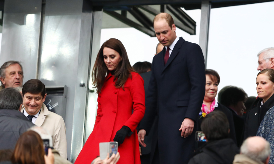 Kate said 'Au Revoir' to Paris in a recycled red Carolina Herrera ensemble. The style star first wore the bright-hued coat during the royal tour of Canada last fall. 