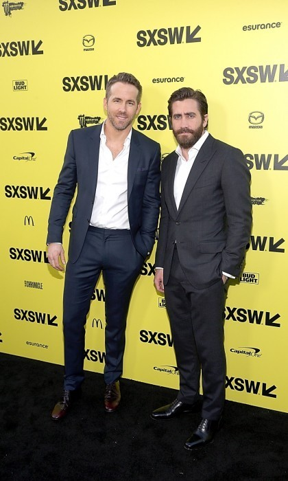 <strong>March 18:</strong> Suit up! Hollywood's cutest new BFFs Ryan Reynolds and Jake Gyllenhaal looked as dapper as ever at the premiere of their upcoming film <em>Life</em>. The actors opted for a more business casual look, with no tie and scruff, as they attended the 2017 SXSW Festival event at the Zach Scott Theater in Austin, Texas. 