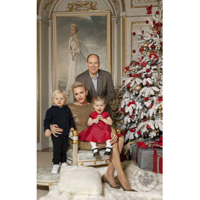 <strong>December 2016:</strong> Princes Jacques and Princess Gabriella were dressed to the nines for their family's glamorous holiday card.