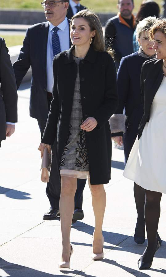 Queen Letizia of Spain opted for a business-chic grey dress and nude heels to the closing of the 'Women and Disability' International Congress in Madrid.