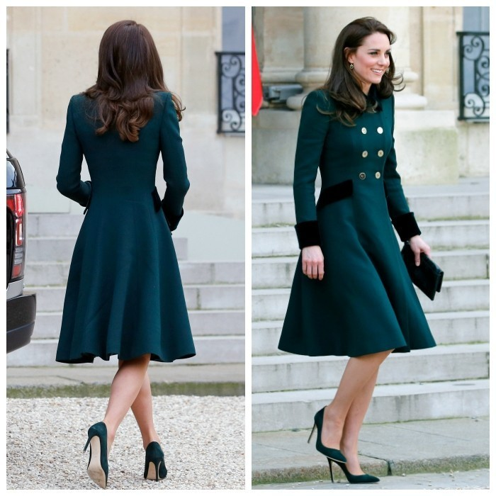 Duchess Kate met Paris' high fashion standards from day one, dawning a sleek green ensemble on St. Patrick's Day. The royal's philosophy seemed to be: never underestimate the power of a blowout! After spending the day at the Irish Guards' parade in London wearing a chic hat and Catherine Walker coat, Kate easily revamped her formal look for her first engagement in Paris, a meeting with French President Francois Hollande at the Elysee Presidential Palace. Kate removed her hat and let her hair fall into her trademark bouncy curls. She also added a leather clutch – giving a fresh city vibe to the same outfit. The tailored look even stunned from the back!
