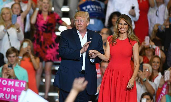 Melania showed off a lighter shade of hair as she addressed the crowd at her husband's rally in Melbourne, Florida on Saturday, February 18. The first lady looked stunning in red cap-sleeve Alexander McQueen dress and new lighter shade of blonde hair, while speaking briefly to the gathering and then reciting the Lord's Prayer.