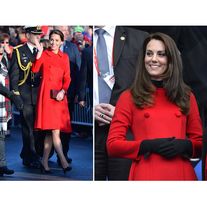 Kate stepped out in her bright red Carolina Herrera coat to attend a rugby match in Paris on Mar. 18. Unlike the first time she donned the vibrant piece of outerwear (during a visit to Whitehorse in Oct. 2016, left) the mother of two paired the coat with a black turtleneck and gloves. 