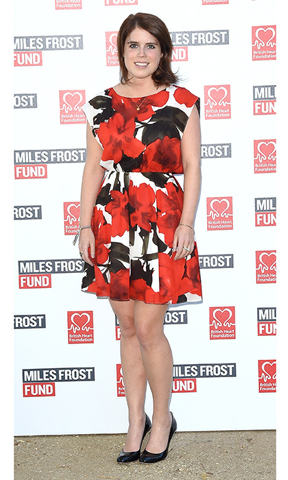 Eugenie stole the show in a bold floral dress at The Frost Family's Final Summer Party to raise money for the Miles Frost Fund in partnership with the British Heart Foundation. The party dress featured a subtle pleat and cinched waist. 