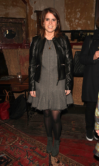 The princess accessorized her gun metal mini dress with a too-cool leather jacket and booties to attend a press performance of <em>Deathwatch</em> at The Coronet on Apr. 14, 2016 in London, England. 