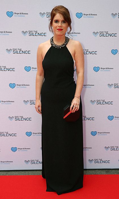 The royal looked elegant in a black halter dress with a crystal-embellished neckline at Hope and Homes for Children's annual End of Silence gala at Abbey Road Studios on Jun. 1, 2016.