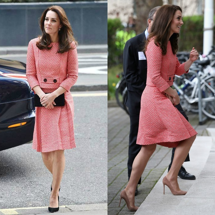 Kate is the queen of demonstrating that just switching up your hairstyle and accessories can make a big difference when recycling looks.