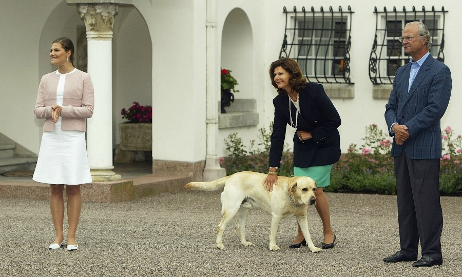 "<h2><strong>King Carl XVI Gustaf and Queen Silvia of Sweden</strong></h2><p>The Swedish king and queen's dog Bingo is seen here, photo bombing the family during Crown Princess Victoria's 27th birthday celebrations in 2004.</p><p>In 2016, during the annual family summer photo call, the king's latest pooch Brandy made sure she wasn't left out of the picture, that featured the entire royal family, when she snuck in and found a spot in front of the king and queen.</p><p><span class=""copyright"">Photo: &copy; Getty Images</span></p>"