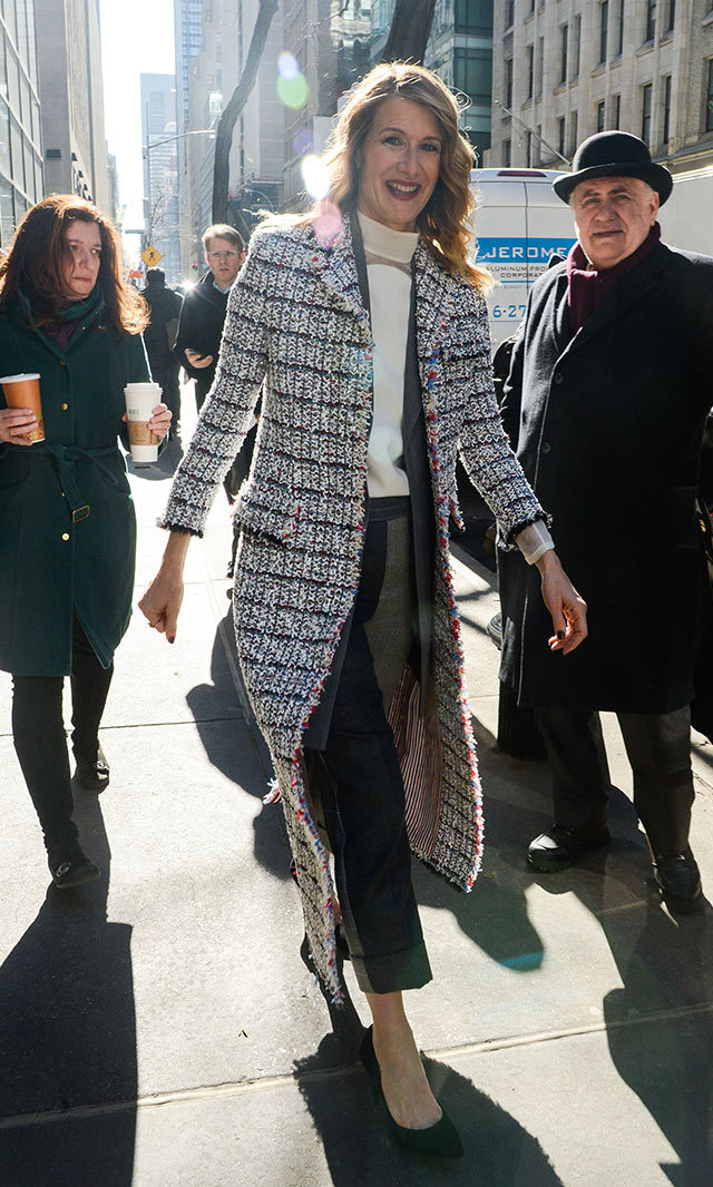 Laura Dern rocked a tweed Thom Browne coat while out in New York.<p> Photo: © Getty Images </p>