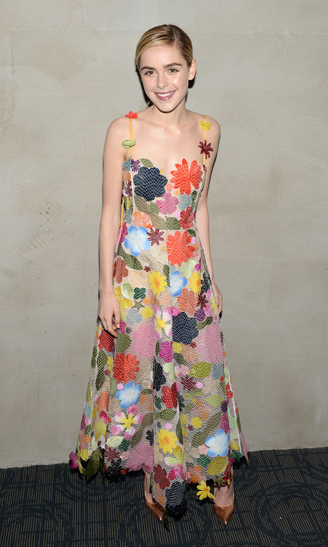 Kiernan Shipka looked fabulous in a floral-embellished Rosie Assoulin gown at the New York screening of her film <em>The Blackcoat's Daughter<em/>. <p> Photo: © Getty Images </p>