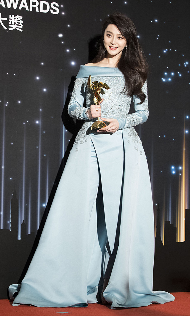 Fan Bingbing looked resplendent in powder blue Elie Saab Couture at the Asian Film Awards in Hong Kong.<p> Photo: © Getty Images </p>