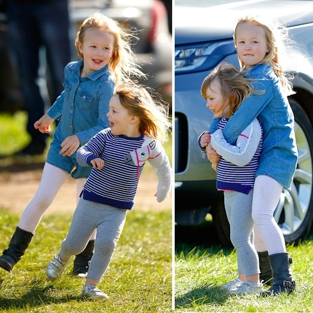 Catch me if you can! The Queen's great-grandchildren Mia, 3, and six-year-old Savannah Phillips enjoyed some cousin time at the Gatcombe Horse Trials in Stroud, England. The youngsters were there to watch Mia's mom, Zara, compete against equestrians from all over the world, including Canada. 