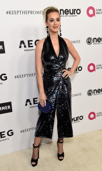 Katy Perry shimmered at Elton's 70th celebration in L.A.