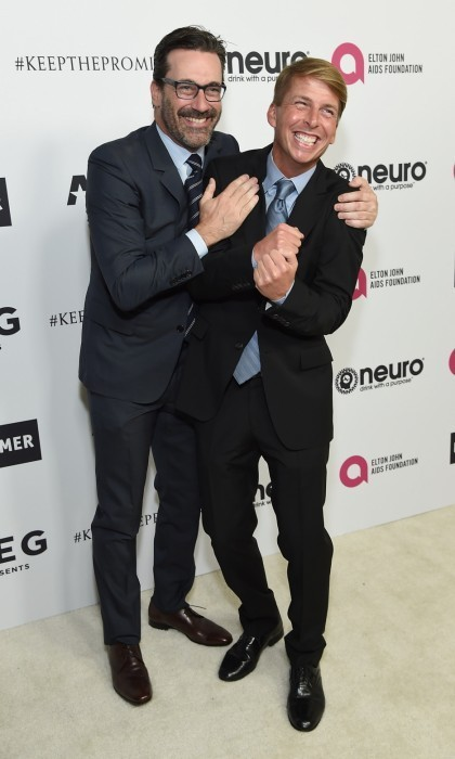John Hamm reunited with his <em>30 Rock</em> co-star Jack McBrayer at the L.A. bash.