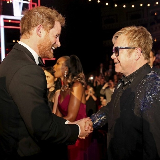 Prince Harry even made a cameo at the gala, appearing via video to wish Elton a happy day! Seen here, Prince Harry and Elton talk at the Royal Variety Performance at Royal Albert Hall in London back in 2015.