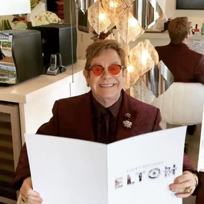 "The singer gave fans a look at his big day, sharing photos and videos to Instagram. He wrote: ""A huge thank-you to all my Facebook friends for the fabulous birthday card signed by all of you! #HappyBirthdayElton""