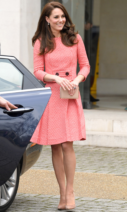 The Duchess of Cambridge attended the launch of a series of educational films about maternal mental health created by Best Beginnings on March 23 wearing a retro-inspired skirt suit by Eponine London. The royal accessorized the look with a gold L.K Bennett clutch bag and nude pump shoes.