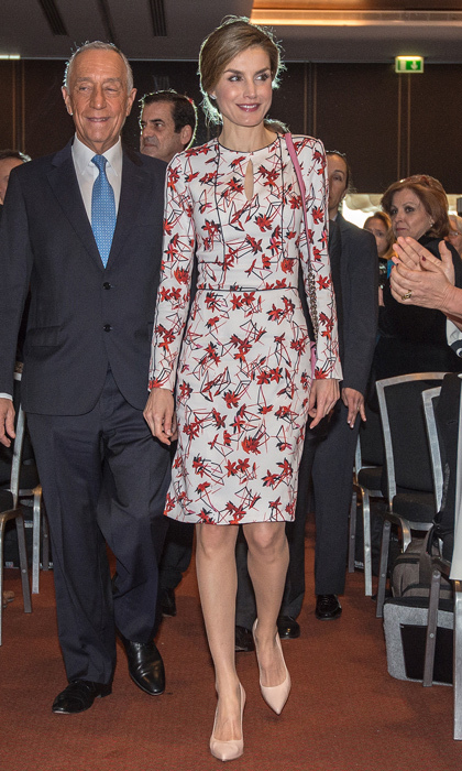 "Queen Letizia recycled her jasmine printed sheath dress by Carolina Herrera for the inaugural ceremony of the seventh European Conference ""Tobacco or Health.