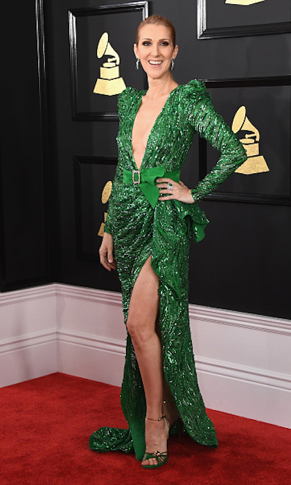 At the 2017 GRAMMY Awards, Celine showed style stars like Katy Perry how it's done in a plunging emerald green Zuhair Murad masterpiece. This was the first of two best-dressed contenders of the night for the multi-award winning artist. Next up..