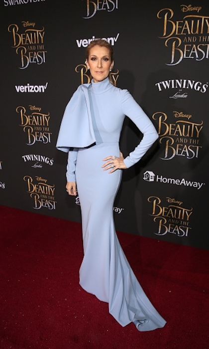 Celine was truly the belle of the ball in powder blue Christian Siriano at the Hollywood premiere of <em>Beauty and the Beast</em>. 